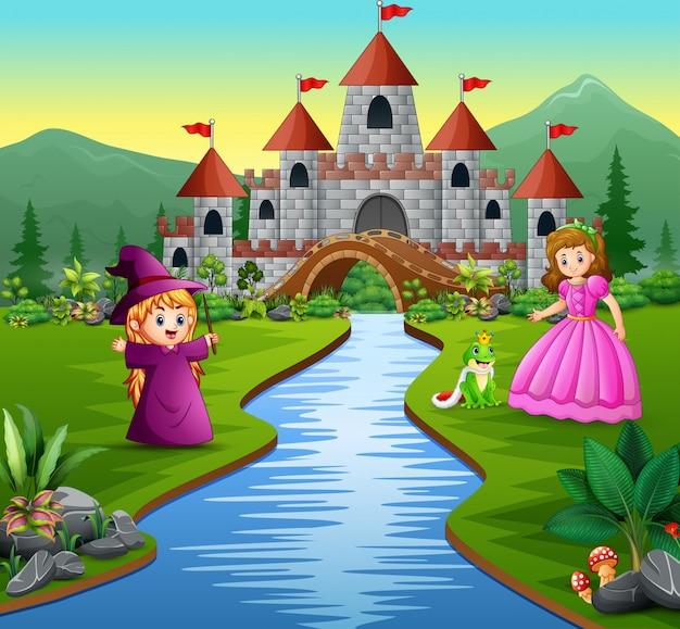 Princesa, bruxinha e um príncipe sapo em um fundo do castelo Vetor Premium