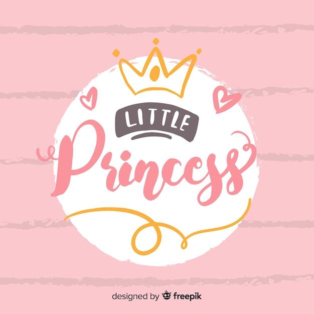 Princesa caligráfica fundo desenhado à mão Vetor grátis