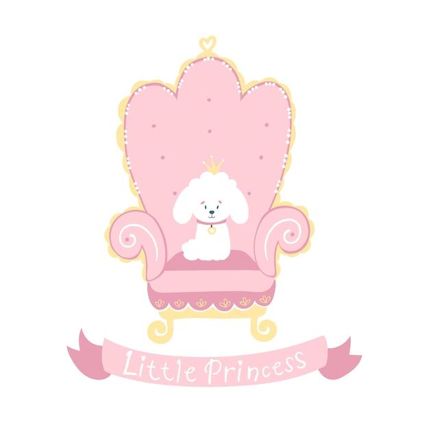 Princesa cão poodle branco com uma coroa em um trono rosa. pequena princesa Vetor Premium