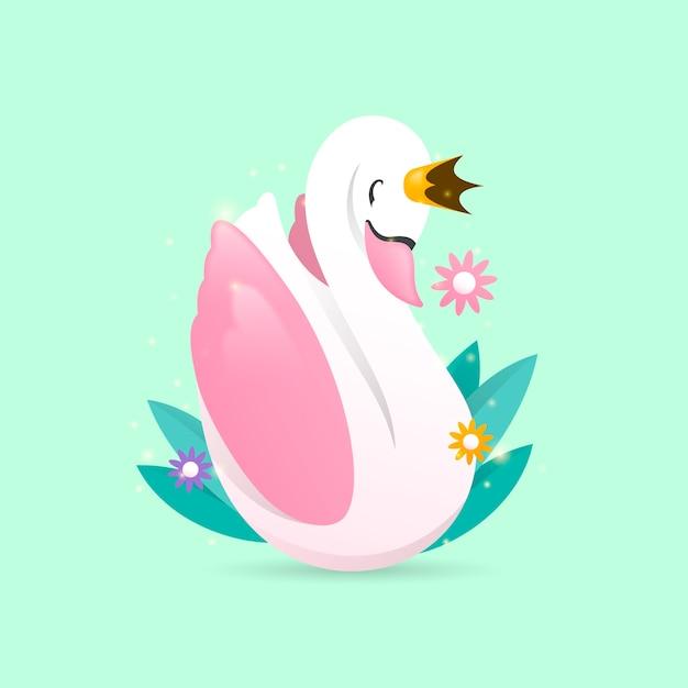 Princesa cisne e flores com folhas Vetor grátis