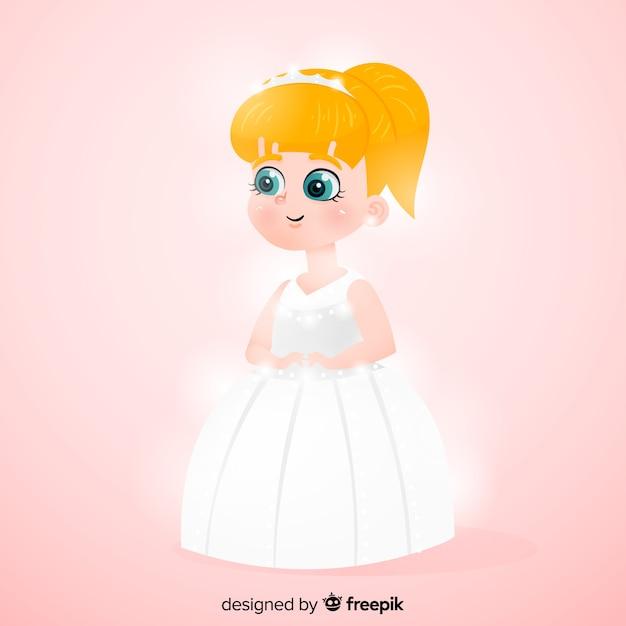 Princesa desenhada de mão com vestido branco Vetor grátis