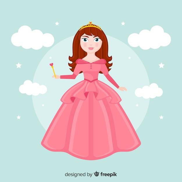 Princesa desenhada de mão com vestido rosa Vetor grátis
