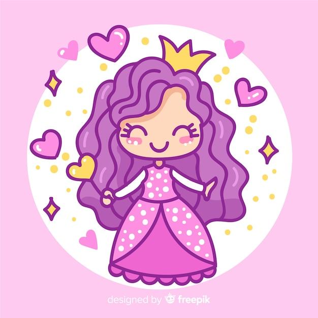 Princesa desenhada de mão com vestido roxo Vetor grátis