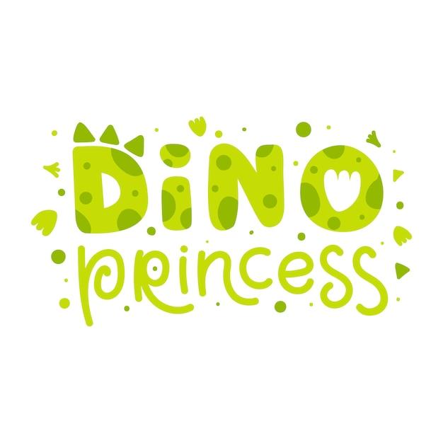 Princesa dino. impressão infantil com letras engraçadas de dinossauro. vector bonito ilustração para crianças, crianças, bebê Vetor Premium