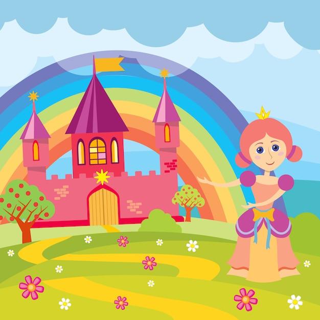 Princesa Dos Desenhos Animados E Castelo De Conto De Fadas Vetor