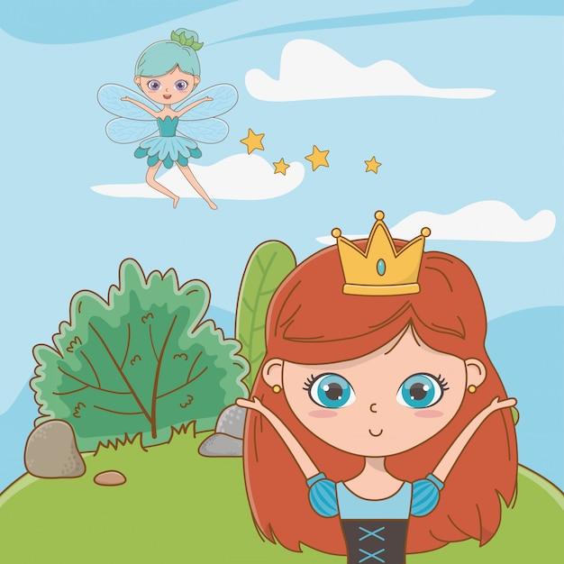 Princesa e fada do conto de fadas Vetor grátis