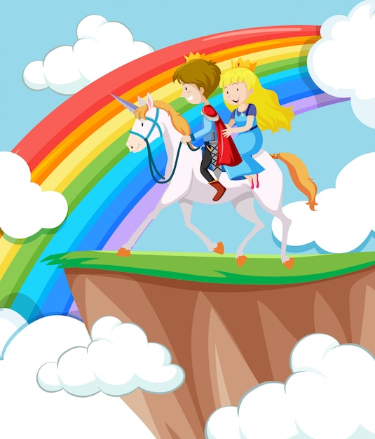 Princesa e príncipe cavalgando Vetor grátis