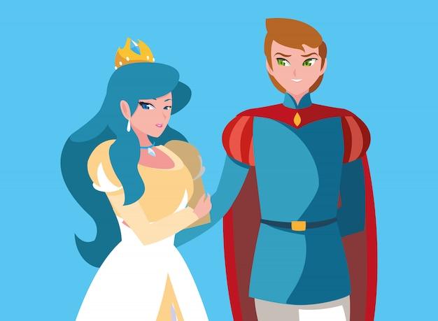 Princesa e príncipe do personagem de avatar de fantasia de conto de fadas Vetor Premium
