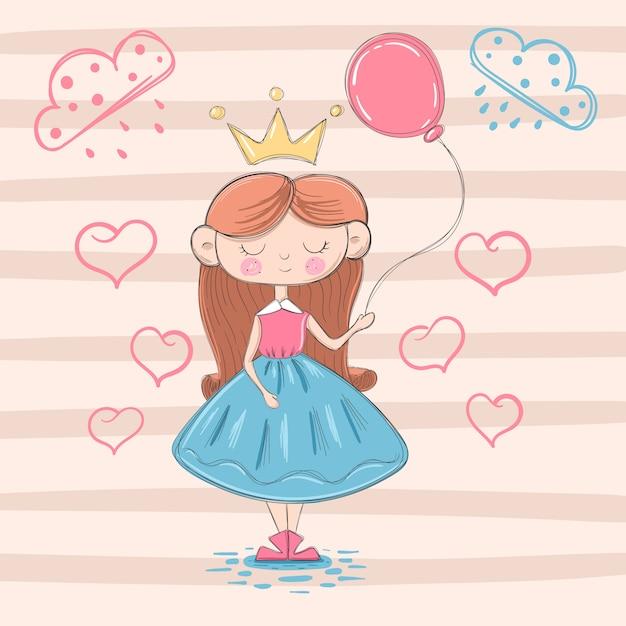 Princesa pequena bonito com balão de ar Vetor Premium