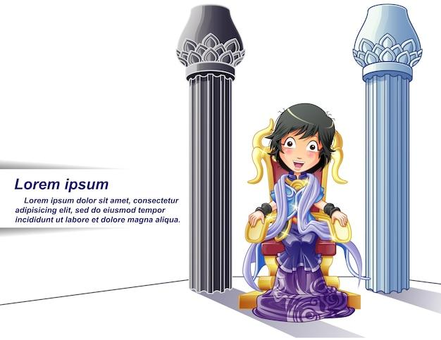 Princesa personagem no estilo de desenho animado e fundo de pilares. Vetor Premium