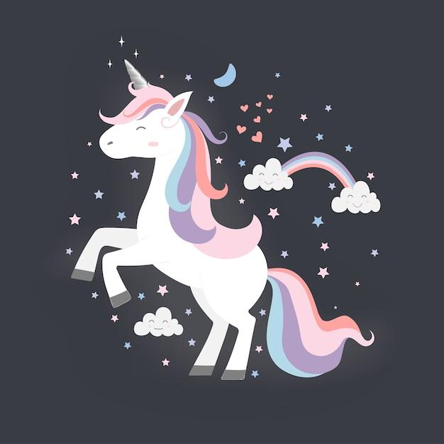 Princesa unicorn bonito Vetor Premium