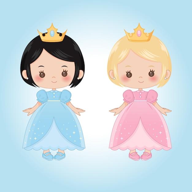 Princesas criança pequena Vetor Premium