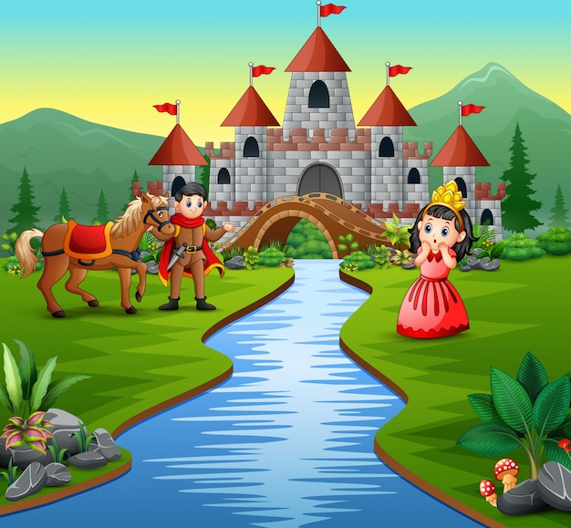 Princesinha e príncipe na bela paisagem Vetor Premium