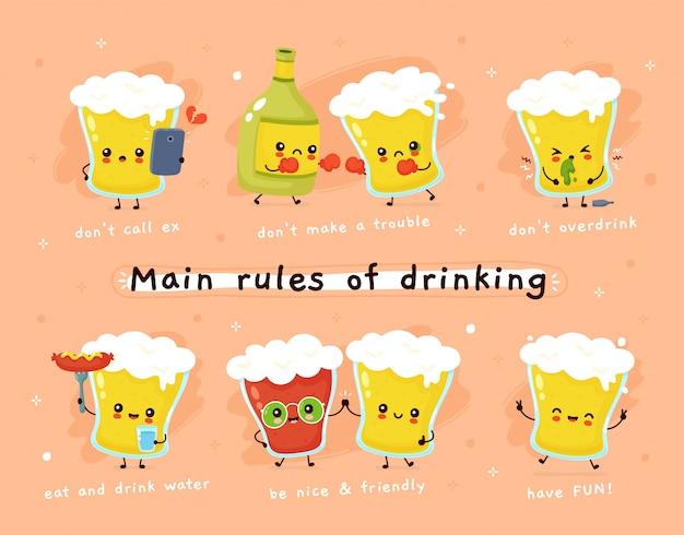 Principais regras de beber. copo de cerveja personagem. Vetor Premium