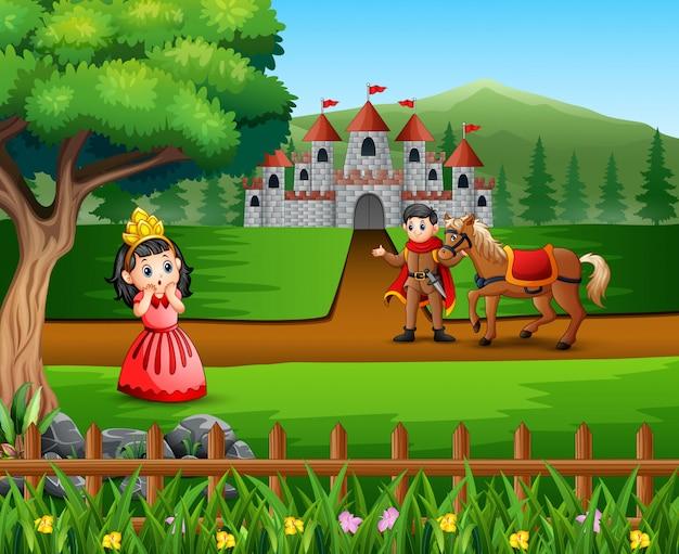 Príncipe dos desenhos animados e princesinha com um castelo Vetor Premium