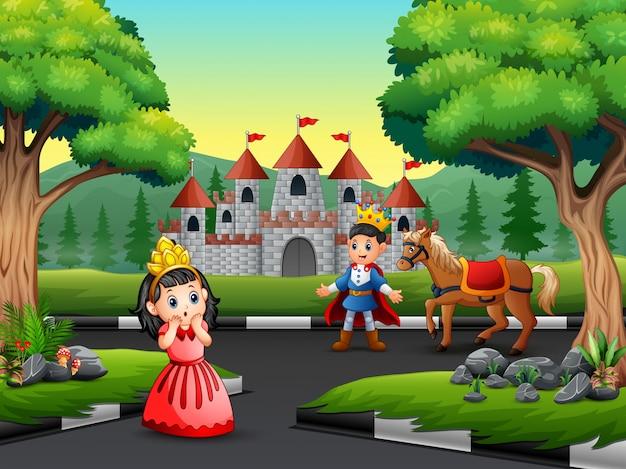 Príncipe dos desenhos animados e princesinha na estrada para o castelo Vetor Premium