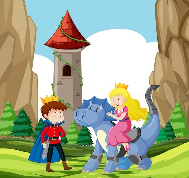 Príncipe e princesa castelo cena Vetor grátis