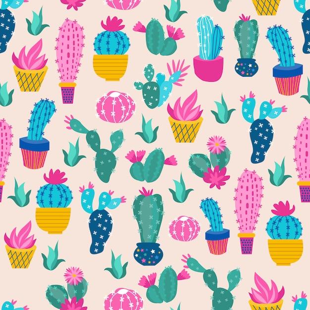Print cactus colorido Vetor Premium