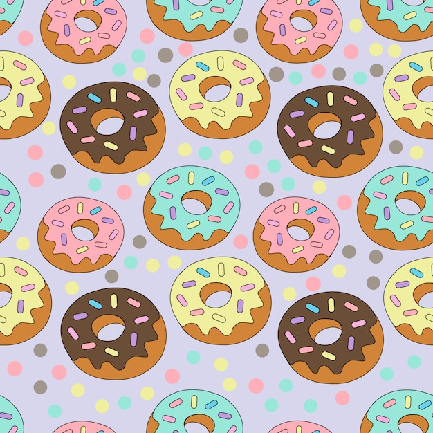 Print donut colorido Vetor Premium