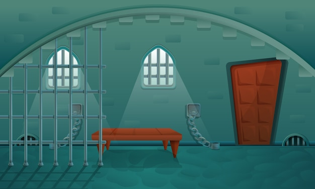 Prisão dos desenhos animados no porão de pedra do castelo, ilustração vetorial Vetor Premium