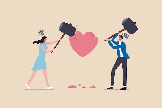 Problema de dificuldades de casamento, divórcio ou violência ou doloroso no conceito de casal relacionamento rompido, casal zangado marido e mulher usando um grande martelo para acertar o coração partido metáfora do problema familiar Vetor Premium
