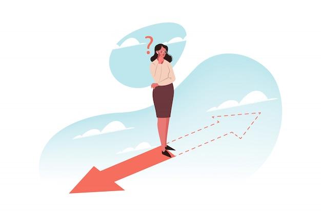 Problema, pensamento, escolha, direção, conceito do negócio Vetor Premium