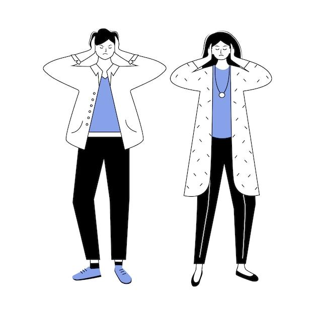 Problema relacionamento azul e preto liso ilustração vetorial de contorno. conflito de casal. incompreensão entre marido e mulher. personagem de desenho animado isolado de questão de casamento Vetor Premium