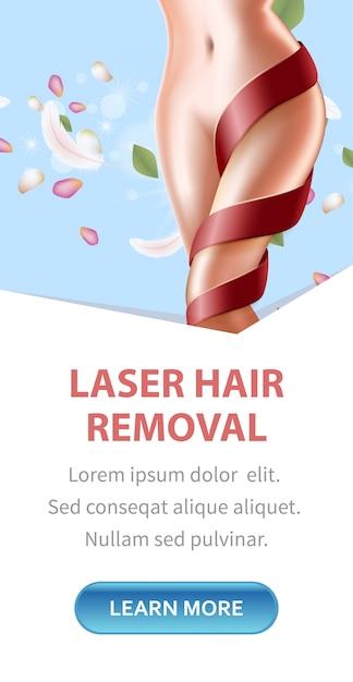 Procedimento da beleza da remoção do laser do cabelo Vetor Premium