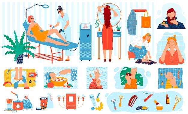 Procedimentos de beleza, tratamento de cuidados da pele, pessoas de cosmetologia spa personagens de desenhos animados, ilustração Vetor Premium