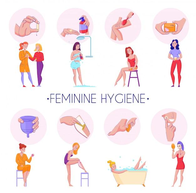 Procedimentos de produtos de higiene feminina composições informativas planas definida com pele massagem órgãos reprodutivos ilustração vetorial de cuidados de saúde Vetor grátis