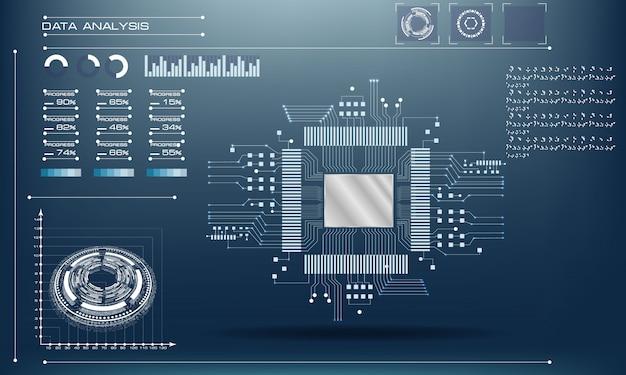 Processador microchip com luzes. tecnologia de placa de circuito Vetor Premium
