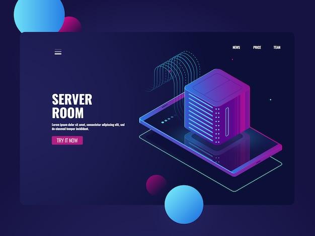 Processamento de big data, celular com ícone de sala de servidores, banco de dados Vetor grátis