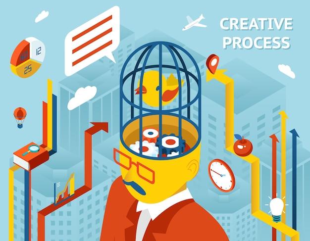 Processo criativo. pensamento e criação, pensamento e invenção e solução engrenagens na cabeça humana. Vetor grátis