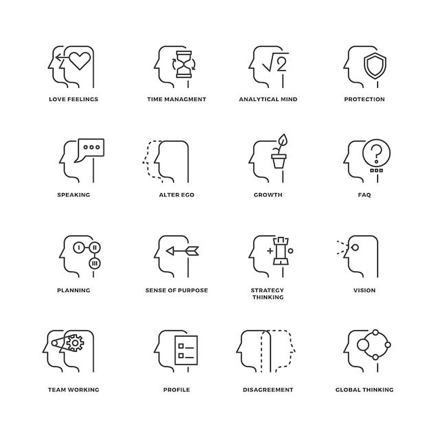 Processo da mente humana, conjunto de ícones de linha de recursos do cérebro Vetor Premium