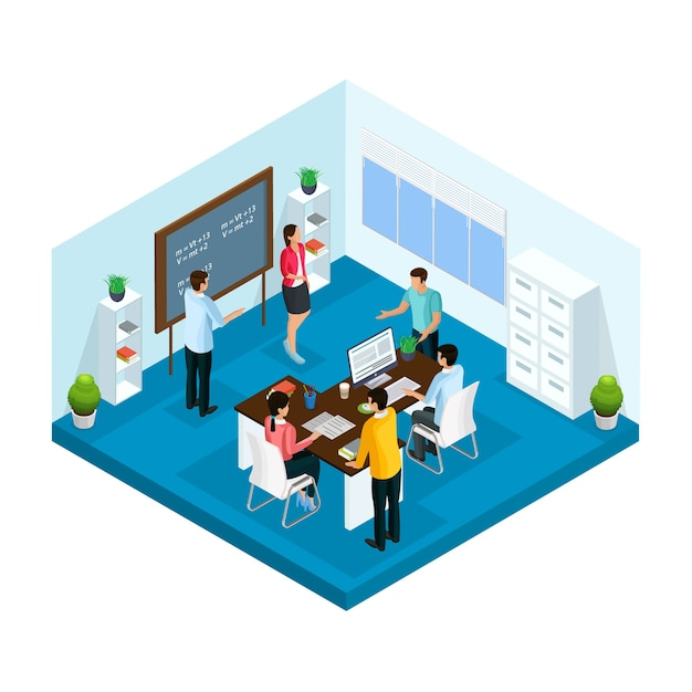 Processo de aprendizagem isométrica em modelo de universidade com alunos estudando e brainstorming em sala de aula isolada Vetor grátis