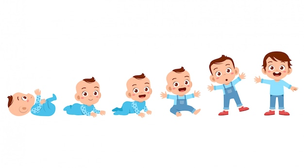 Processo de ciclo de crescimento da criança Vetor Premium