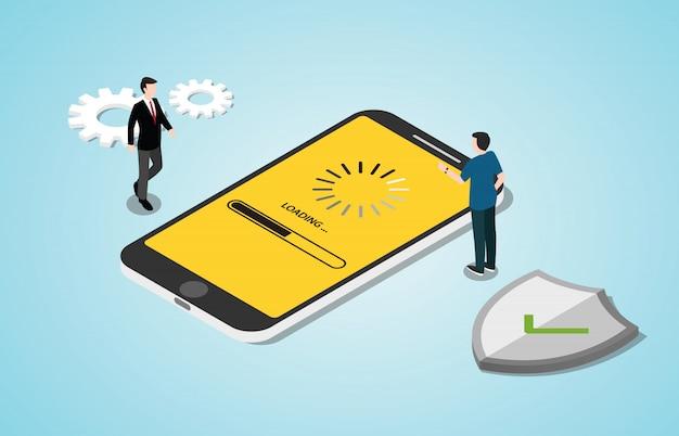 Processo de conceito de atualização do sistema 3d isométrica com aplicativos de smartphone Vetor Premium
