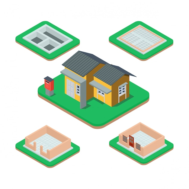Processo de construção de casa isométrica. Vetor Premium