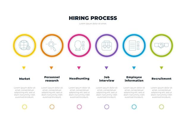 Processo de contratação com informações úteis Vetor Premium