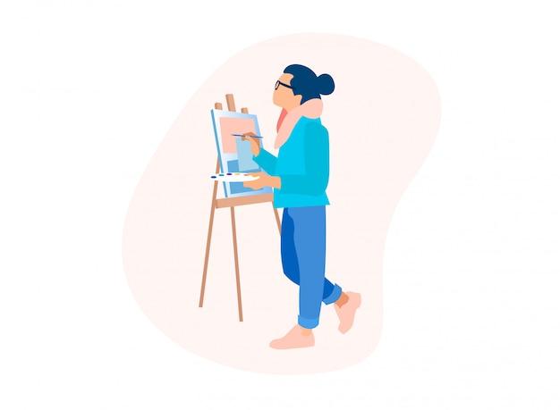 Processo de desenho homem artista trabalho com tintas a óleo Vetor Premium