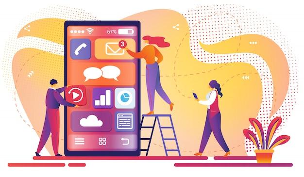 Processo de desenvolvimento de aplicativos móveis. trabalho em equipe. Vetor Premium