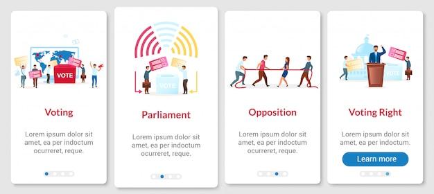 Processo de eleição para integrar a tela da página do aplicativo móvel com modelo. votação para presidente. etapas do site passo a passo com caracteres simples Vetor Premium