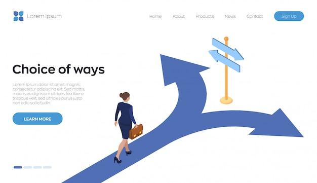 Processo de escolha. direção escolha opções, solução, decisão. Vetor Premium