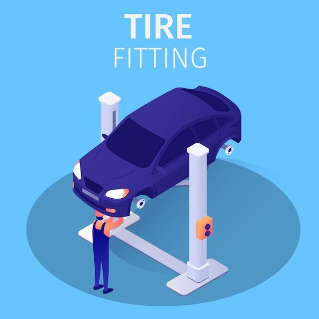 Processo de montagem de pneus no serviço de reparação automóvel Vetor Premium