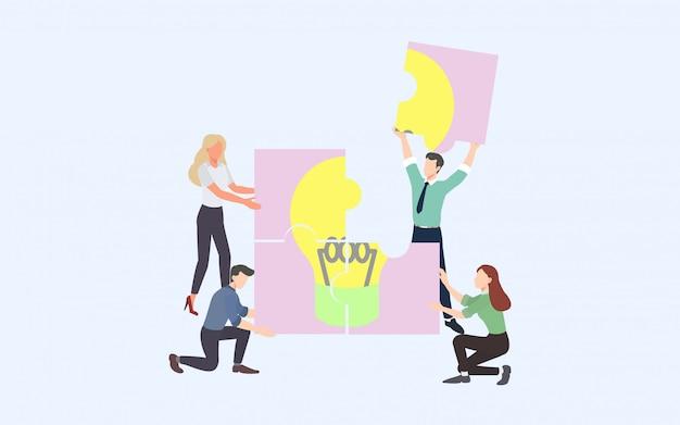 Processo de negócios de brainstorming criativo e conceito de estratégia de negócios Vetor Premium