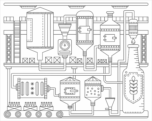 Processo de produção de cervejaria. cerveja de fábrica de linha. ilustração em vetor estilo linear traçado do contorno. Vetor Premium