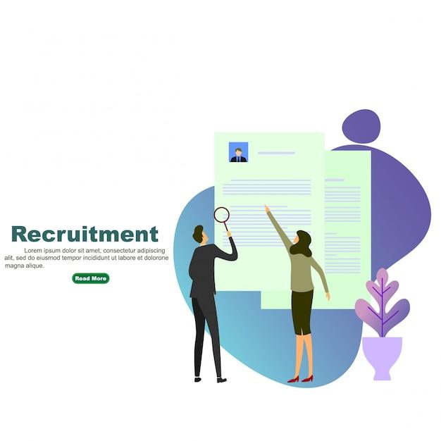 Processo de recrutamento Vetor Premium