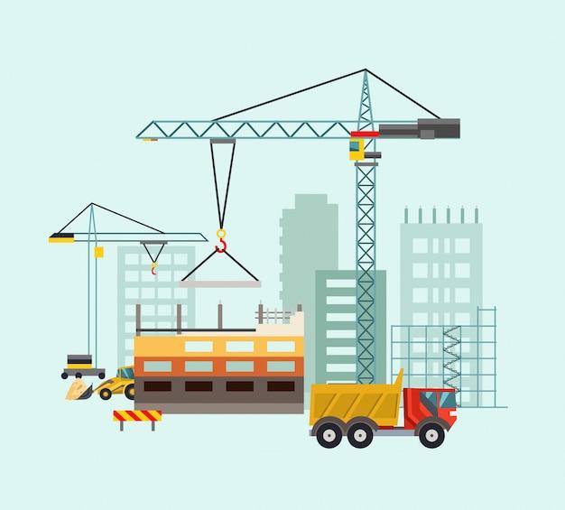 Processo de trabalho de construção com casas e máquinas de construção. ilustração vetorial Vetor Premium