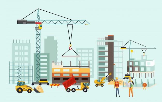 Processo de trabalho de construção com casas e máquinas de construção Vetor Premium