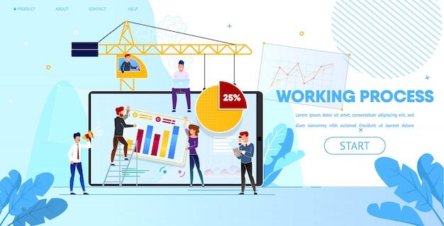 Processo de trabalho de pessoas fazendo design de página da web Vetor Premium